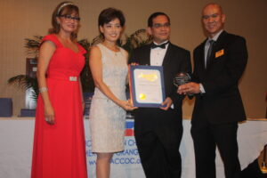 "Start Up Company Award:  Thaddeus Noel Laput beams (second from right) takes pride in receiving the Start Up Company Award for Amor Culinary Innovations, Inc.  from the Filipino-American Chamber of Commerce and the Congressional Certificate from the office of Congresswoman Young Kim at the recent awards night of the organization whose officers join him for the honor. He is partnered with Amorfina ""Pia"" Legaspi in managing the Cerritos-based Saladmaster Distributorship which ranks # 5 among 450 direct dealers in the world and #1 in the West Coast."