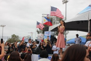 Miss World 2013 Megan Young sings to Carson City crowd.