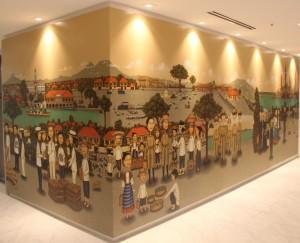 """The Great Promenade of Philippine-American Friendship,"" a mural by Filipino artist Dominic Rubio"