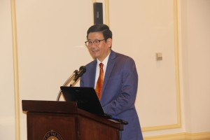 Embassy's Chargé d'Affairés, Minister Patrick A. Chuasoto delivers his opening remarks at the FYLPRO DC Info session held at the Romulo Hall of the Philippine Embassy on 26 July 2016.