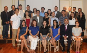 Young Filipino-Americans who attended the FYLPRO DC Info session, posed for a group photo with the Embassy's Public Diplomacy Officer, Ms. Darell Artates (1st row, 3rd from left) and FYLPRO alums Melissa Medina (1st row, 4th from left) and RJ Diokno (1st row, 5th from left) at the Romulo Hall of the Philippine Embassy on 26 July 2016.