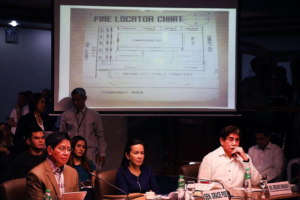 Senators Panfilo Lacson, Grace Poe and Gregorio Honasan conduct an inquiry on Thursday, November 10, 2016, on the killing of Albuera Mayor Rolando Espinosa at the Baybay Provincial Jail by members of the CIDG on November 5, 2016. (MNS photo)
