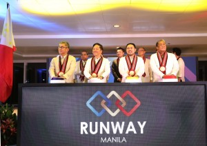 DOTr, DPWH officials open Runway Manila: From (right to left) DOTr Sec. Arthur Tugade, DPWH Sec. Mark Villar and Dr. Andrew Tan led the switch during the opening of the Runaway Manila on Tuesday night (April 18, 2017) at the NAIA Terminal 3 in Pasay City. (PNA photo by Avito C. Dalan)