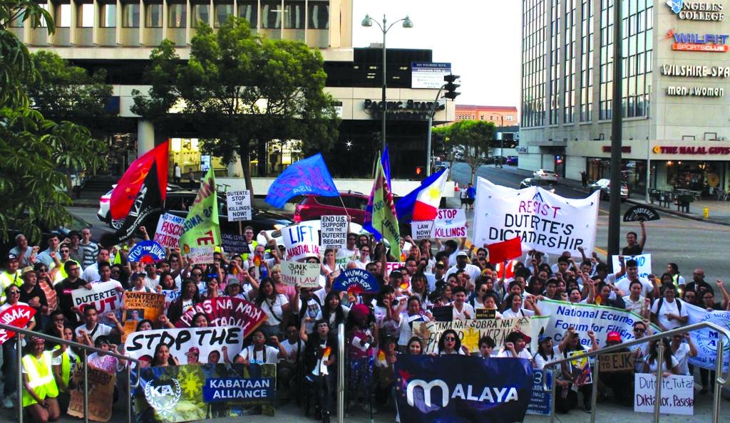 Protesters counter  Duterte's SONA in LA